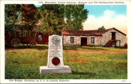 Wyoming Fort Bridger Monument Prairie Schooner Museum And Old Headquarters Building Curteich - Etats-Unis