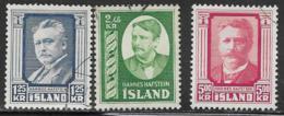 Iceland Scott # 284-6 Used Hafstein, 1954, CV$38.95 - 1944-... Republique