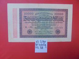 Reichsbanknote 20.000 MARK 1923 VARIANTE GITTER 6 CHIFFRES CIRCULER (B.16) - [ 3] 1918-1933 : República De Weimar