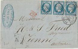 N° 14 -BANDE DE 3 SUR LETTRE DE PARIS A DESTINATION DE L'AUTRICHE - 1853-1860 Napoleone III