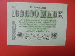 Reichsbanknote 100.000 MARK 1923 2 LETTRES+1 CHIFFRE CIRCULER (B.16) - [ 3] 1918-1933 : República De Weimar