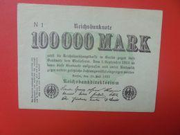 Reichsbanknote 100.000 MARK 1923 1 LETTRE+1 CHIFFRE CIRCULER (B.16) - [ 3] 1918-1933 : República De Weimar