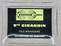 CENDRIER EN VERRE CONTINENTAL EDISON ETS GIRARDIN TELE-MENAGERS ROUSSSILLON ET SABLONS - Appareils