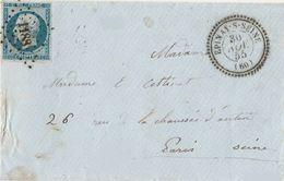 PETITS CHIFFRES - SEINE ET PARIS - EPINAY - PC 1188 SUR LETTRE POUR PARIS - 1849-1876: Periodo Classico