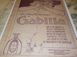 ANCIENNE  PUBLICITE  PARFUM  DE GABILLA 1913 - Parfums & Beauté