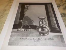 ANCIENNE PUBLICITE PARFUM ORGUEIL DE LUCIEN LELONG 1946 - Autres