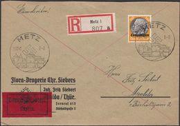 Germany - Lothringen (Lorraine, France) MiNr. 16 EF, Expres Reg. Cover, METZ 11.12.1941 - Apolda. - Besetzungen 1938-45