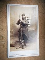 PHOTO CDV 19 EME MILITAIRE SOLDAT FUSIL BAIONNETTE   Cabinet  REUTLINGER A PARIS - Guerre, Militaire