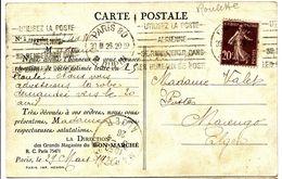 ROULETTE SEMEUSE 20C N° 139 TYPE IV ROULETTE ROTATIVE SUR CP ( LETTRE ) PRIVEE MAGASIN BON MARCHE 1926 SUPERBE - Postmark Collection (Covers)