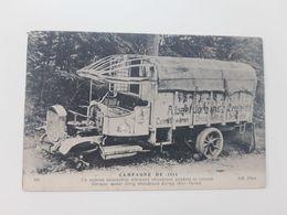 Cpa Camion Automobile Allemand Abandonné Pendant La Retraite. 1914 - Matériel