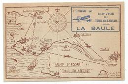 N°652X2+337 MERMOZ CARTE GALOP ESSAI TOUR DU CADRAN LA BAULE 7 SEPT 1947 - Air Post