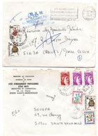 Ste Menehould 1982 & Chalons-sur-Marne 1987 - 2 Lettre Taxée Avec Fleurs Et Insectes - Lettres Taxées