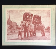 Rare Cahier Ecolier Didactique Ancien Roi Siam  Transport ELEPHANT Imp Charaire  Sceaux - Papel Secante
