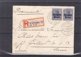 Belgique - Lettre Recom De 1918 - Oblit Antwerpen - Exp Vers Gstaad - [OC38/54] Ocupacion Belga En Alemania