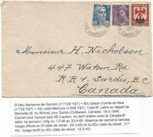 BLASON 60C+ 40C MERCURE +5FR GANDON BLEU LETTRE MARSEILLE 1948 POUR LA CANADA TARIF RELATIONS - 1941-66 Armoiries Et Blasons