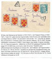 BLASON 1FRX4+ GANDON 8FR DEFAUT MIGNONNETTE DAGUIN MUET ?? 1951 POUR NIEVRE - 1941-66 Armoiries Et Blasons