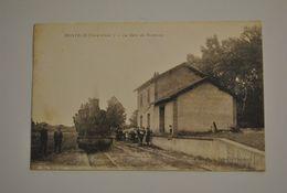 82 Tarn Et Garonne Montech La Gare Du Tramway Carte Tres Rare Train Locomotive - Montech