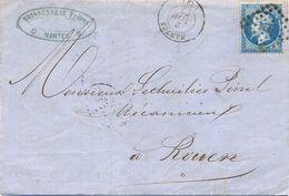 1862  - LOIRE ATLANTQIUE – LAC BRISSONNEAU Frères – NANTES TàD 2 NOV. 62 PC 2221 Sur YT N° 22 - 1849-1876: Période Classique