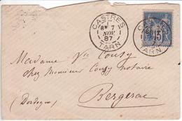 DAGUIN Jumelé CASTRES TARN 1887 Jolie Petite Enveloppe Oblitération Sur 15c SAGE TB! - 1877-1920: Période Semi Moderne