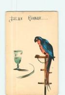 2 RIVAUX : Perroquet Bleu Et Rouge Eenchaîné à Son Perchoir Et Verre - Carte Illustrateur - 2 Scans - Vögel