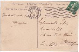 PARIS RP Départ ESSAI FLIER  Machine F Lignes Ondulées LONGUES 57 Mm Seulement Fin Juin Début Juillet 1910 ! - Marcophilie (Lettres)