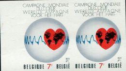 AP1784 Belgium 1972 Heart Health Year 1V Impref Double - Salute