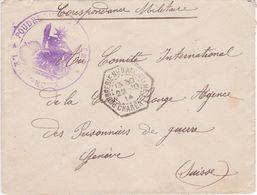 Petite Lettre En FM Cachet Hexagonal POUDRERIE NATIONALE D'ANGOULEME CHARENTE 1914 > Agence Prisonniers Guerre Genève - Guerre De 1914-18