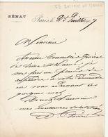 Seine Et Marne, 1907, Lettre Autographe Du Sénateur François Poirier, Industriel - Sénateur De La Seine-, - Autographes