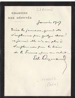 Rhône, 1907, Lettre Autographe Du Député Aymard - Autographes