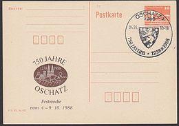Oschatz 750 Jahre Auf C-GA Der DDR 1988 Mit SsSt., Stadtwappen Löwse, Silhuette - [6] República Democrática