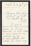 Basses Pyrénées, 1907, Lettre Autographe Député Léon Guichemin (2 Scans) - Autographes