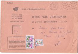 Ensemble N° 827-2 CENTRE RECHERCHES COURRIER LIBOURNE + Enveloppe  Correspondante Refusée SABINE 1981 TAXE Fleurs - Taxes