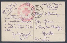 Hôpital Auxre ( Auxiliaire ) Hôtel De Paris Ville D'Aix Les Bains Franchise 1915 Pour Nantes CP Pratz De Chamonix Le Dru - Marcophilie (Lettres)