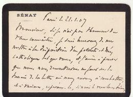Morbihan, 1907, Lettre Autographe Sénateur Charles Riou, Magistrat (2 Scans) - Autógrafos