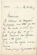 Morbihan, 1907, Lettre Autographe Sénateur Gaudin De Fontaine (2 Scans) - Autógrafos