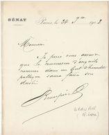 Nièvre, 1907, Lettre Autographe Sénateur Beaupin - Autógrafos