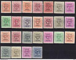 Belgique Timbres Préoblitérés Chiffre Sur Lion 1951-1954, 25 Timbres Différents - Typografisch 1951-80 (Cijfer Op Leeuw)