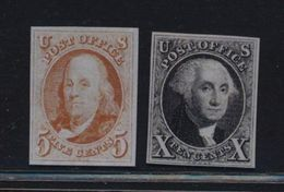 ***REPLICA*** Of USA 1847 5c Red Brn, 10c Black Sc 1,2 - First Two US Stamps - 1847-99 General Issues