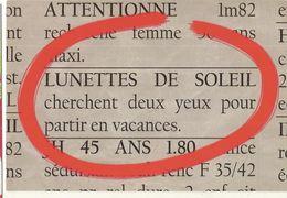 CPM, Th.Humour - Les P'tites Annonces De V.M. ,Lunettes De Soleil Cherchent Deux Yeux Pour Partir En Vacances, Ed. 2005 - Humour