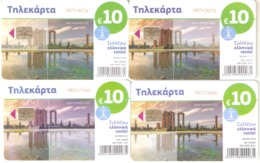 Greece-Temple Of Olympian Zeus Puzzle Set Of 4 Cards, 10 Euro, Tirage 40.000, 04-07-08-09/2019,used - Griechenland