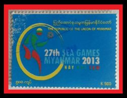 089. BURMA (K500) 2013  USED STAMP SEA GAMES - Myanmar (Birmanie 1948-...)