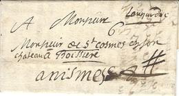 """1699- Lettre De GRENOBLE ( Isère )  Sans Marque De Départ - """" Languedoc """"  Taxe 6 Sols Pour Nismes - Marcophilie (Lettres)"""
