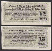 Zittau Wagner & Moras 2 Gewinnanteilscheine 1922/23, Gute Erhaltung Textilindustrie - Textile