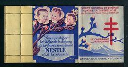 Carnet De 1945  - Tuberculose - Antituberculeux - VAR Fond Gris-bleu Page 1-PUB  GIBBS Rouge Nestlé Bébé Fleur Bourgeons - Antituberculeux