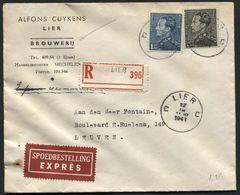 BRASSERIE BROUWERIJ Cuykens Poortman N°430-530 Obl. LIER S/L Recom. Exprès Spoedbestelling  1941. Lierre. TB. (x213) - 1936-1951 Poortman
