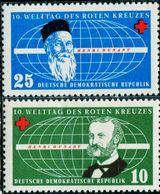 AP1823 East Germany 1957 Red Cross Founder 2V - Salute