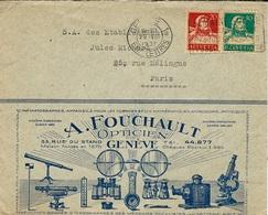 1930- Enveloppe De GENEVE 1  Affr. 30 C  Pour Paris Avec Bandeau Illustré D'un Opticien - Schweiz