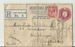 KANADA R-CV 1829LOWER EDMONTON NACH WURTTENBERG - 1911-1935 Reign Of George V