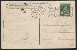 Ambulant Transit BRUSSEL (BRUXELLES) JEMELLE S/CP Obl. GENT Flamme Exposition 1913 Vers Aulnois (x217) - Postmark Collection