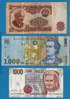 LOT BILLETS 3 BANKNOTES ROMANIA ITALY BULGARIA - Kilowaar - Bankbiljetten